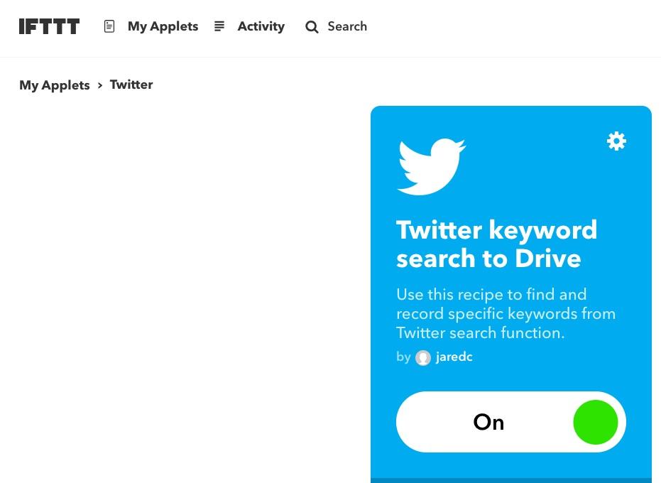Twitter IFTTT automation