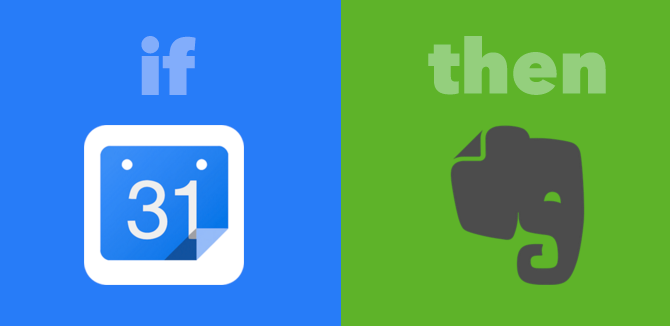 ifttt google calendar and evernote recipe