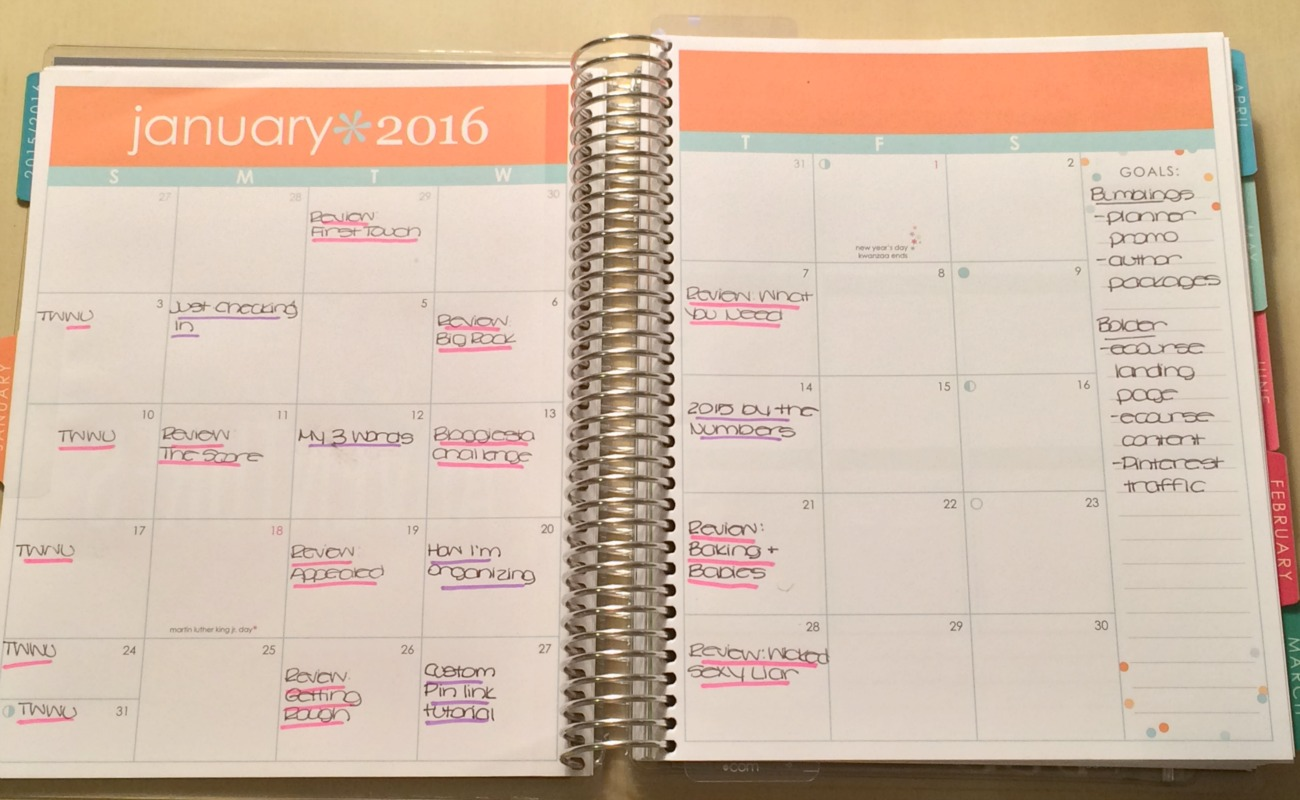 monthly planner spread editorial calendar