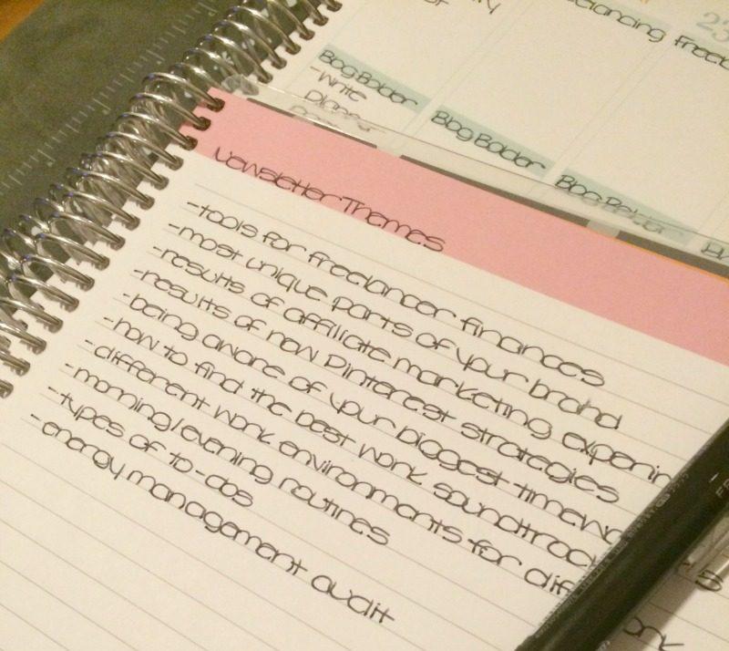 blog brainstorm notebook