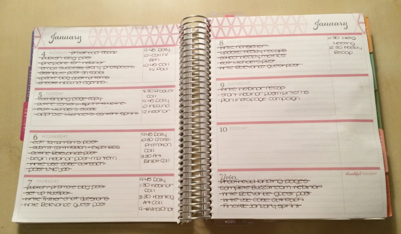 horizontal layout weekly planner for work