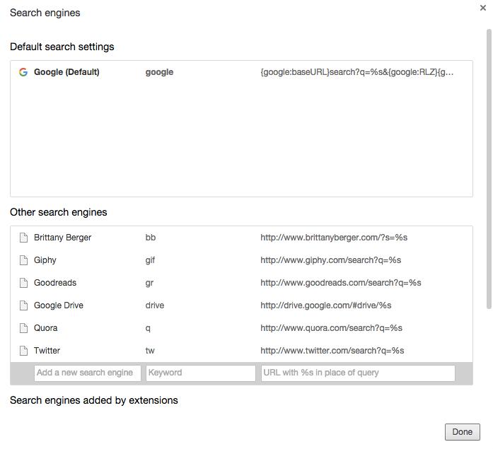 chrome omnibox custom search engines