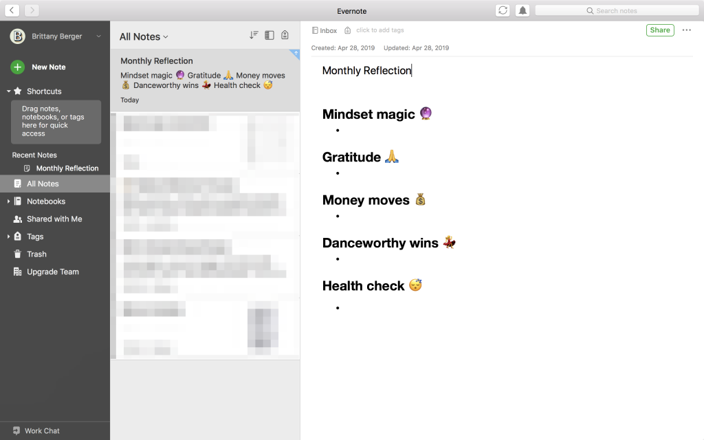 journaling in evernote