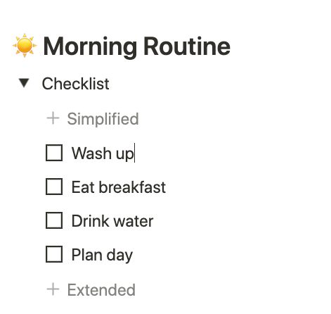 notion morning routine template