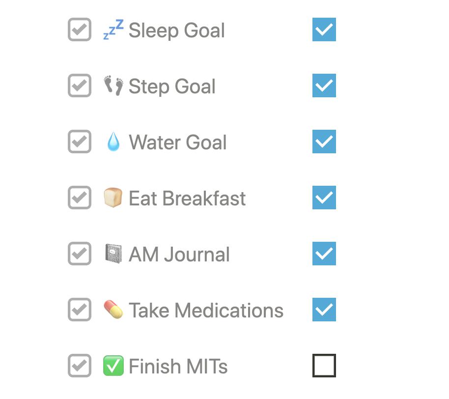 notion habit tracking checklist