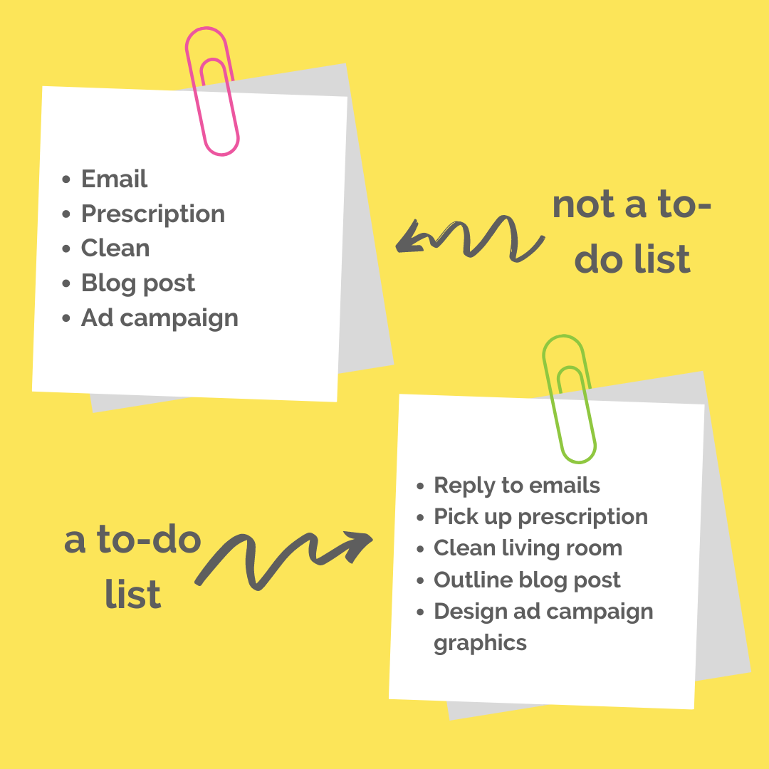 good vs bad to-do list examples