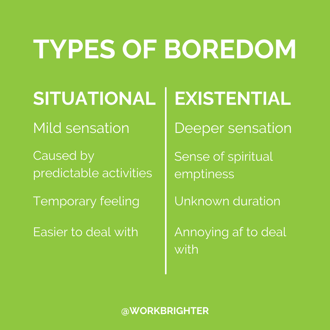 types of boredom: situational - mild sensation, caused by predictable activities, temporary feeling, easier to deal with. Existential - deeper sensation, sense of spiritual emptiness, unknown duration, annoying af to deal with